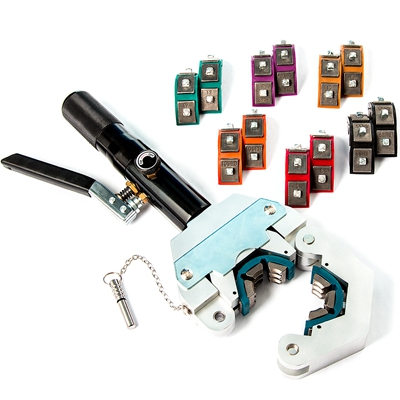 The tool includes four sets of dies for barrier ac hose. The crimping tool has a base that can be mounted to a bench for easy use,or the base can be held by any vise (7)