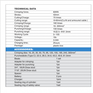 BZ-60UNV technical data